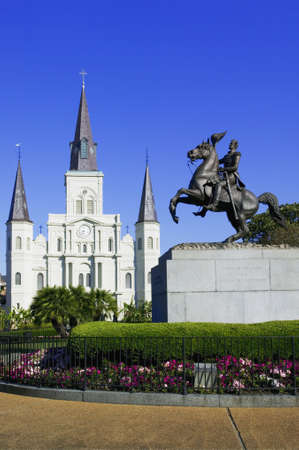 general: St. Louis Cathedral with the statue of General Jackson in Jackson Square New Orleans, Louisiana, United States Stock Photo