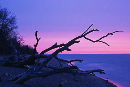 erie: Sunrise over Lake Erie from Point Prlee National Park, Ontario Canada Stock Photo