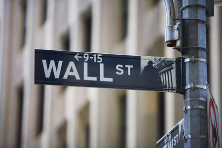 street market: Wall street sign