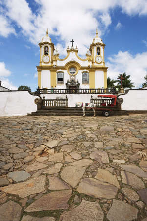 Igreja Matriz de Santo Antônio located in Tiradentes in the state of Minas Gerais Brazil. The church is dedicated to Santo Antônio (Saint Anthony). A half ton of gold was used to decorate its interior. The façade and the entrance were designed by Aleijadi