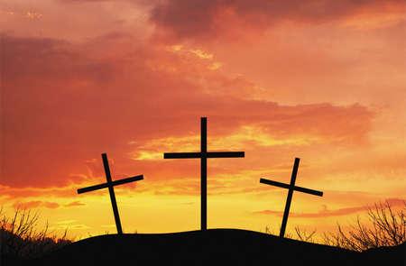 faithfulness: Three crosses on top of hill