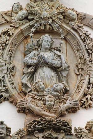 Architecural detail on the front of Igreja de Sao Francisco de Assis, Ouro Preto, Minas, Brazil  Built in 1774 was considered to Aleijadinhos's masterpiece