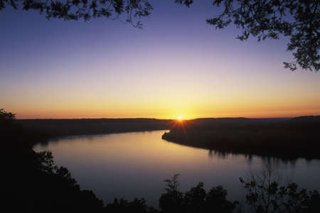 river: Sunrise on the Ohio River from Otter Creek Park, Kentucky Stock Photo
