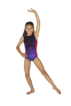 Model Release #286   8 year old African-American girl in gymnastics poses
