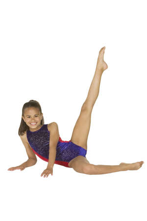 female gymnast: Model Release #286   8 year old African-American girl in gymnastics poses