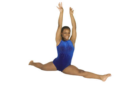 13 year old: Model Release #283   13 year old African-American girl in gymnastics poses Stock Photo