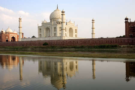 Taj Mahal as seen from acress the in Agra  India