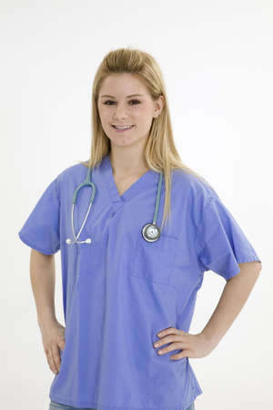 Model Release 376 Young caucasian female nurse wearing scrubs outfit Stock Photo - 749271