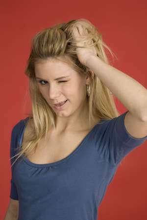 Model Release 376 Caucasian woman showing facial expressions in a studio photo