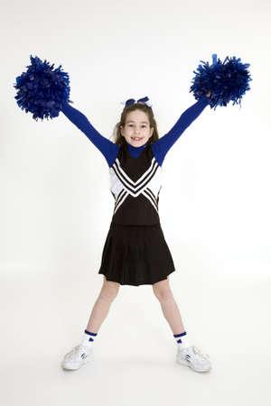 porrista: Lanzamiento modelo 378 vieja muchacha de nueve a�os vestida como cheerleader