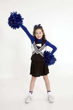 Model Release 378  Nine year old girl dressed as cheerleader photo