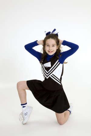 Model Release 378  Nine year old girl dressed as cheerleader