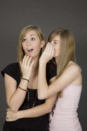 Tienermeisjes vertellen geheimen's voor een grijze achtergrond