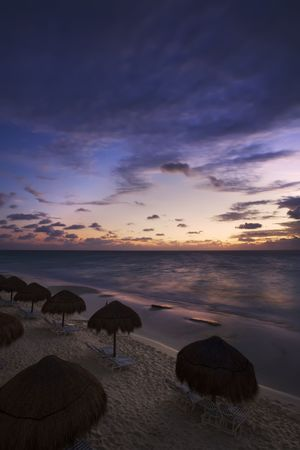 Sunrise along the white sand beaches of Cancun on the Yucatan Peninsula in Quintana Roo Mexico