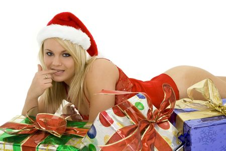 A beautiful caucasian woman in sexy Santa lingerie.