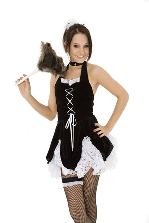 Mooie blanke vrouw, gekleed in een French Maid kostuum