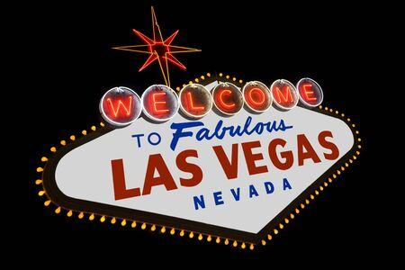 De beroemde Welcome to Fabulous Las Vegas teken langs de boulevard van Las Vegas Nevada  Stockfoto