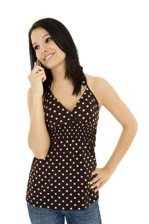 Blanke vrouw te praten over de mobiele telefoon