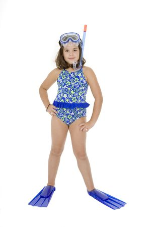 Caucasian child posing in a swimsuit standing on white background Standard-Bild
