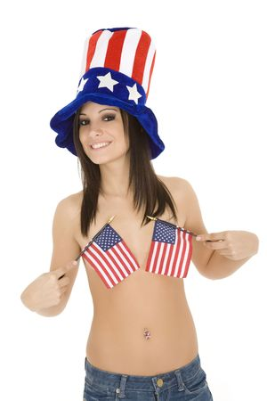 Beautiful Caucasian woman celibrating the 4th of July 免版税图像