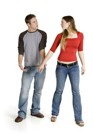 Caucasian couple arguing on a white backgound Stockfoto