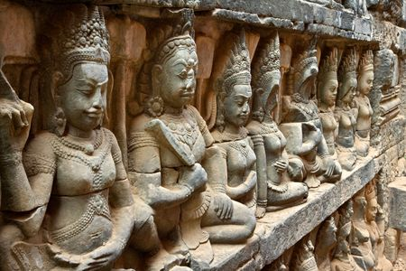 The Terrace of the Leper King is located in the northwest corner of the Royal Square of Angkor Thom, which is part of the Ankgor Wat complex in northern Cambodia