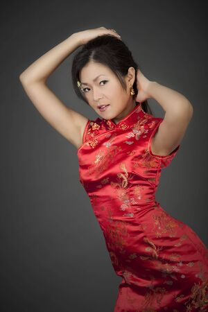 Beautiful Chinese woman in traditional Chinese clothing Stok Fotoğraf