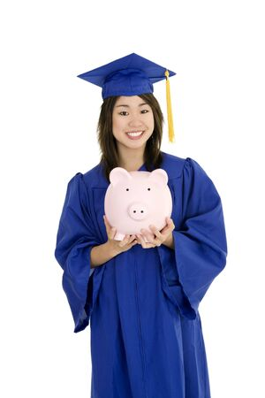 Asian teenage very excited about graduation on white background Reklamní fotografie
