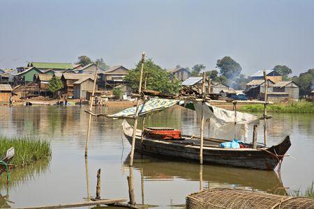 Kompong Chhang Fishing Village located  on the Tonle Sap River north of Phnom Penh, Cambodia