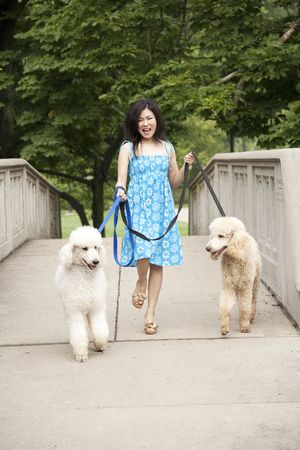 Beautiful Asian woman walking two dogs in the park