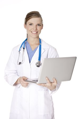 Beautiful Caucasian doctor or nurse holding a laptop computer