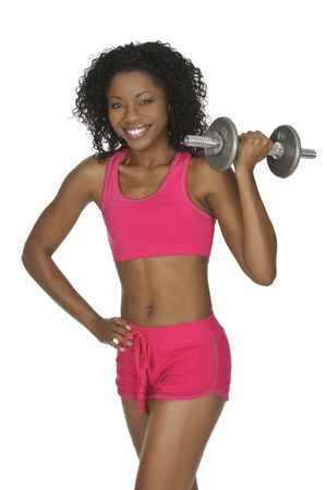 African American woman lifting weights