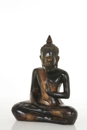 Wooden Buddha statue isolated on a white bachground 版權商用圖片