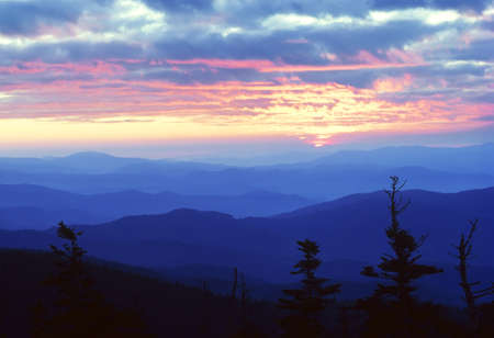 sunrises: Sunrise as viewed from Clings Dome in the Great Smoky Mountains National Park Stock Photo