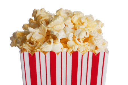 fresh pop corn: Box of popcorn isolated  on a white background