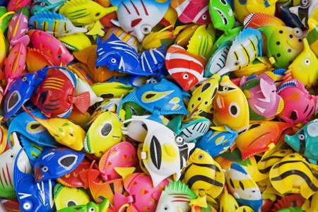 decorate: Colorful toys used to decorate an aquarium