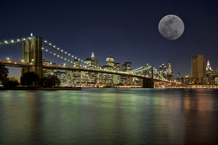 Moonrise over the Brooklyn Bridge New York City New York USA