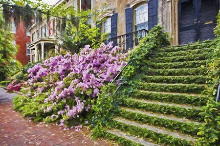 Impressionist art of the historic district of Savannah Georgia in early spring with the Azaleas in bloom.
