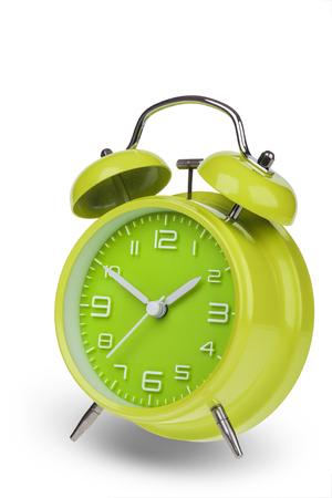 Groene wekker met de handen op 10 en 2 geïsoleerd op een witte achtergrond