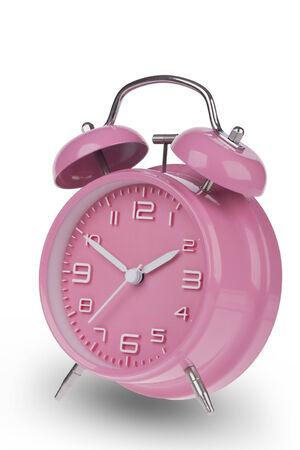 Roze wekker met de handen om 10 en 02:00 uur of geïsoleerd op een witte achtergrond Stockfoto - 33159986