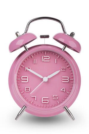 Roze wekker met de handen om 10 en 02:00 uur of geïsoleerd op een witte achtergrond