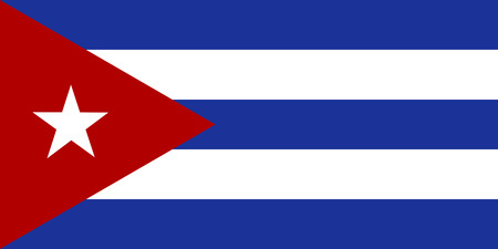 The official flag of the Republic of Cuba Vector Illustration