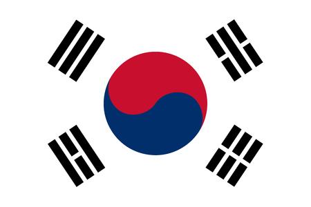 La Repubblica di Corea noto anche come la Corea del Sud bandiera ufficiale sia a colori e proporzioni, noto anche come il Taegeukgi Archivio Fotografico - 37342645