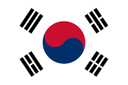 The Republic of Korea also known as South Korea official flag in both color and proportions, also known as the Taegeukgi 向量圖像