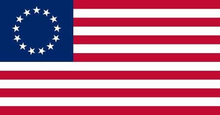 아메리카 원주민의 Besty Ross 깃발은 색과 비율 모두로 정부 사양으로 만들었습니다.