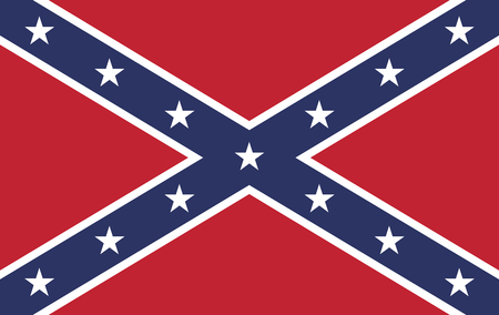The battle flag of the Army of Tennessee.  Also known as the Confederate Rebel Flag used during the American Civil War.