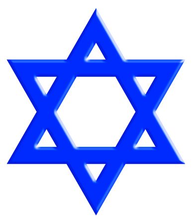 The Star of David, known in Hebrew as the Shield of David or Magen David. It is a generally recognized symbol of modern Jewish identity and Judaism. With Clipping Path