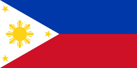 The national flag of the Republic of the Philippines in both color and proportions