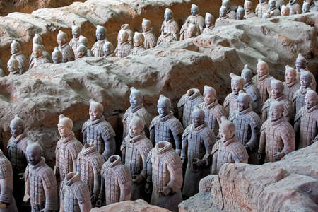 The world famous Terracotta Army, part of the Mausoleum of the First Qin Emperor and a UNESCO World Heritage Site located in Xian China Reklamní fotografie - 81526218