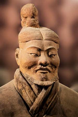 陝西省歴史博物館に展示の兵馬俑展示。西安。中国